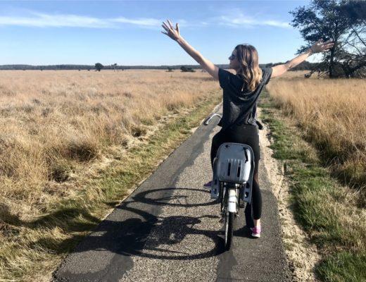 riding bike around the park